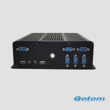 QOTOM Mini PC with 2 LAN and 7 Serial Port, 2 VGA, 1 HD Video display Port, X86 Mini Industrial PC 12V
