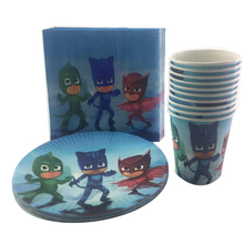 60pcs PJ Masks Birthday Party Tableware Set Mask Man Cartoon Paper Cup Plate Napkin for 20 Kids Favor Decoration Supplies