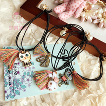 Shapu cartoon animals alloy pendant tassel for rubber with a high elastic bands hair accessories for lady scrunchies headwear