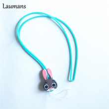 Laumans 20pcs/lot Lovely Rabbit Lanyard for Keys Mobile Phone Straps Soft Cartoon Rabbits PVC Squishy Ropes for case for Cards