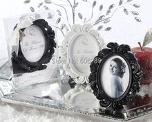 10pcs/lot Return gifts for Kids Birthday Baroque style oval black Resin Photo Frame Place card Holder bridal showre gift item(China)
