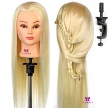 "Mannequin Head Salon 30% Real Hair 22"" Blonde Training Hairdressing Practice Cosmetology Mannequins Hair Styling + Clamp"
