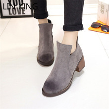 LIN KING Vintage Winter Warm Plush Shoes Women Martin Boots Artificial Suede Leather Square Heels Martin Boots Leisure Boots