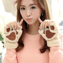 Tnine Gloves 2017Winter Women Paw Gloves Fingerless Fluffy Bear Cat Plush Paw Novelty Halloween Soft Toweling Half Covere Gloves(China)