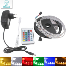 1set 5M 5050SMD RGB Non-Waterproof LED strip light +4A EU Plug Adapter +24Keys DC12V Mini IR Remote Controllor for Bar Office(China)