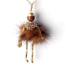 Mix Colors New Fashion Doll Necklace! Winter Various Colors fur Doll Key Chains Women Accessories Jewelry Female Gifts Hot(China)