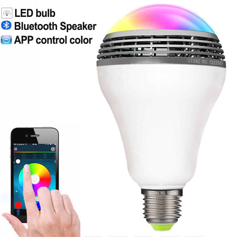 Newest Smart LED Bulb light wireless Bluetooth Speaker Dimmable Color E27 Lamp Audio speaker for iPhone samsung Android phone(China (Mainland))