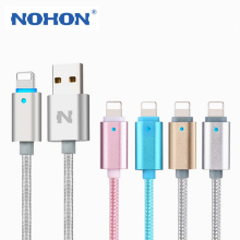 NOHON 1.5M LED Light Intelligent Protection 8Pin USB Data Sync Charge Cable For iPhone 5 5S 6 6S Plus iPad 4 Air 2 Charging Wire