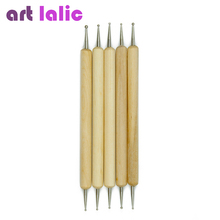 Artlalic 5Pcs 2 Way Wooden Dotting Pen Marbleizing Tool Nail Art  wood HOT