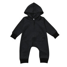 Baby rompers Toddler Baby Boys Girls Solid Zip Long Sleeve Hoodie Romper Jumpsuit Baby Clothes drop ship(China)