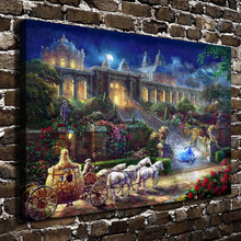 H1381 Thomas Kinkade Cinderella Romance Awakens full, HD Canvas Print Home decoration Living Room Wall  pictures Art painting