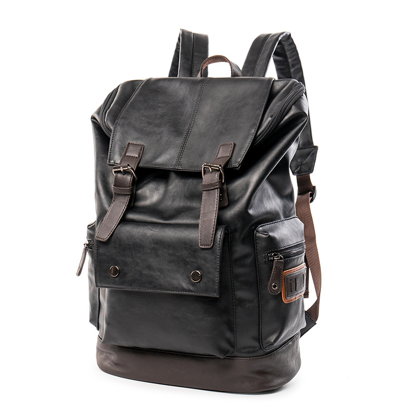 2016 Men Pu Leather Backpack College Student School Backpack Bags for Teenagers Vintage Mochila Casual Rucksack Travel Daypack<br>