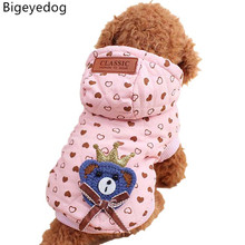 Bigeyedog Dog Coat Jacket Winter Dog's Clothes Hoody Cotton-padded Clothes Poodle Chihuahua Pet Costume Dogs Pets Clothing(China)