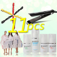 Cheap PROkeratin mini one set keratin treatment +hair iron +Salon cloth DIY hair care keratin hair straightening set products