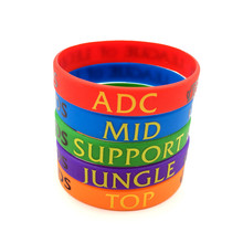 LOL Bracelet League of Legend Wristband Silicon Bracelet with ADC, JUNGLE, MID, SUPPORT, DOTA 2 Printed Band Wholesale 50pcs/Lot(China)