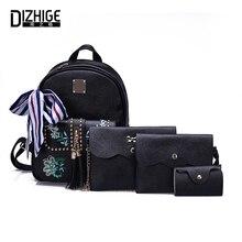DIZHIGE Brand Embroidery PU Leather Backpack Women 2017 4 Pcs/Set Rivet Women Backpack Tassel School Bags Teenagers Girls
