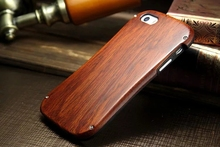 Phone Case Dirt-resistant Shockproof Aluminum Bumper Metal Frame+Real Wood Cover On For iphone 6/6S/6 S Coque Housing(China)