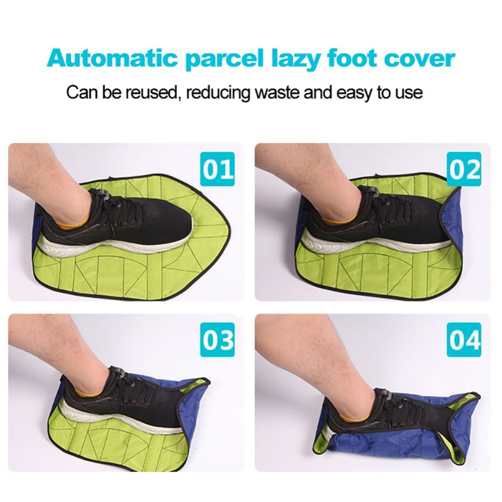 1Pair Reusable Automatic Lazy Shoe Covers Waterproof Durable Portable Hand Free Overshoes Quick Foot Covers Case Shoe Protector 3
