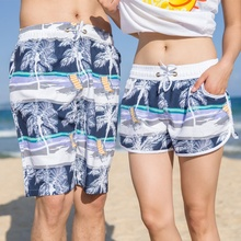 Summer lovers beach shorts men and women beach pants Beach Resort fast dry shorts Surf Swim pants Coconut trees(China)