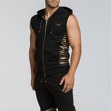 Mens muscle brand Sleeveless Hoodie Sweatshirt Casual Slim Basic Hooded Jacket Vest Waistcoat Zipper cotton Sleeveless Hoodies
