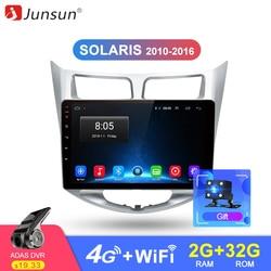 Junsun 2din Android 2 дин автомобильный Радио мультимедийный видео плеер gps навигатором навигация для Новый Hyundai Solaris i25 2010-2016 2012 dvd автомагнитола хенд...