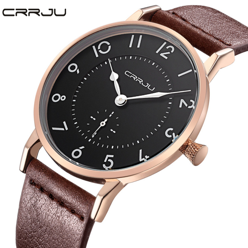 2017 Top Brand CRRJU Fashion Men Military Watch Ultra Thin Leather Strap Quartz Wrist watch Mens Sports Watch Relogio Masculino<br><br>Aliexpress