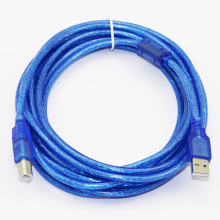 USB 2.0 Printer Cable Type A Male to Type B Male Foil+Braided Shielding Transparent Blue 30cm 50cm 100cm 1.5m 1.8m 3m 5m 10m