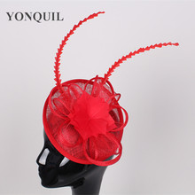 17 color high quality sinamay fascinator headwear sinamay base with feather cocktail hats red wedding millinery hair accessories