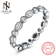 INALIS 925 Sterling Silver Round to Oval Ring with Zirconia Cheap Rings for Women Wedding Fine Jewelry Party Accessories(China)