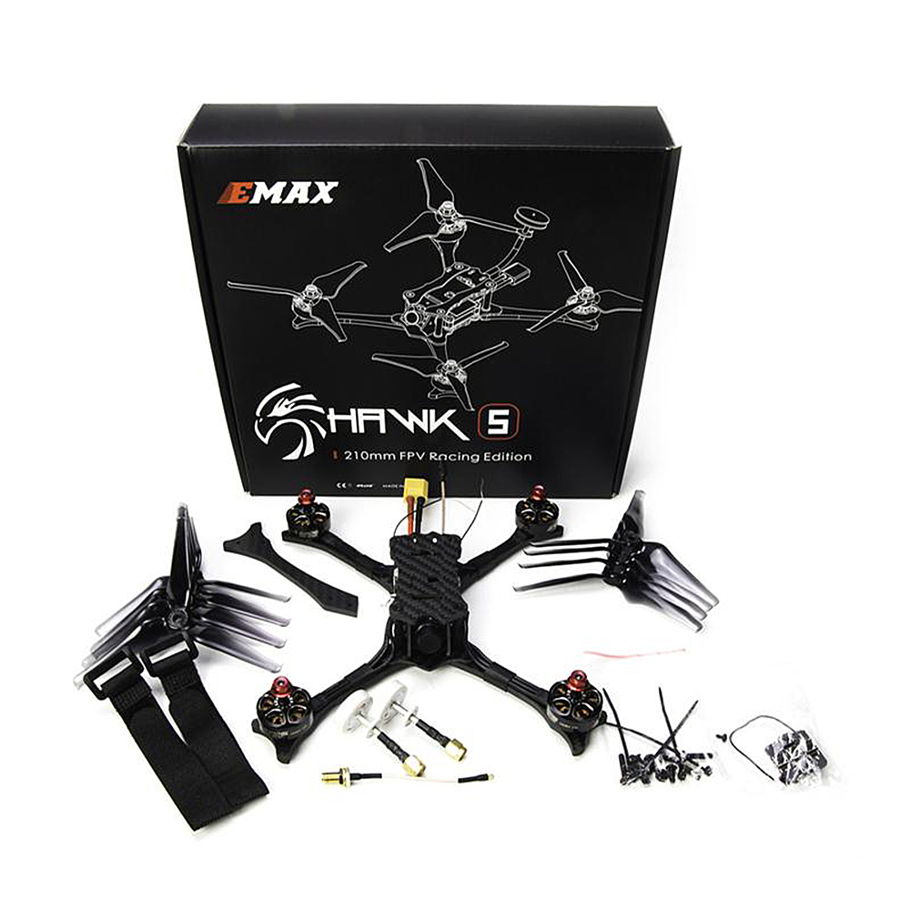 Emax Racing Drone Hawk 5 5.8G 600TVL F4 FC 210mm Brushless FPV Racing RC Quadcopter w Frsky Receiver BNF PNP Version RC Drone 6