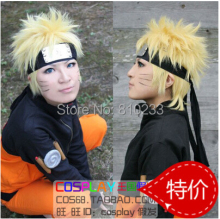 SUNCOS Party wig Naruto Uzumaki Naruto Shippuden gold 30cm short cosplay wig anime hair  free shipping