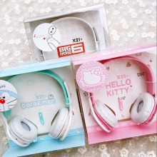 2017 Hello kitty Headphone with Mic for Iphone 5 5s 6 6plus cute music stereo kids mobile phone headset cartoon headband X21