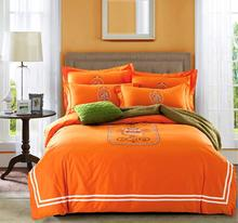 French style Paris 100% cotton twill Orange embroidery 4pcs comforter cover bedsheet pillowcase bedlinen set Queen/King/B3735