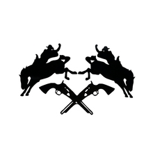 12cm*20cm Cowboy Hunting Funny Car Stickers Exterior Accessories Car Styling Decal Sticker for Car or Motorcycle Black/Silver(China)