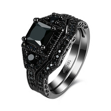 Hot Sale Exquisite Black Onyx Ring Black Gold Filled Engagement Wedding Ring Size 6 7 8 PR870-B(China)