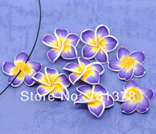 Wholesale 20Pcs Purple&Yellow Polymer Clay Flower Charm Craft Loose Beads 32x10mm Making Jewelry DIY(China)