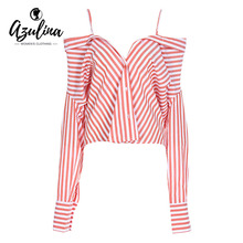 AZULINA Red and White Striped Blouse Shirt Women Sexy Off the Shoulder Long Sleeve Button Blouse Blusas 2017 Ladies Shirt Tops