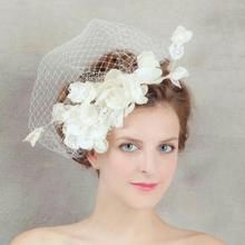 Linen Fashion Bridal Lace Flower Veil Imitation pearl Hairwear Wedding Hair Accessories Veil Bride Head Jewelry Trendy