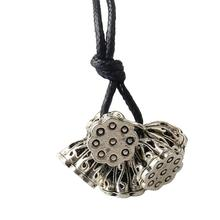 Women Girls Solitaire Fashion Retro Vintage Five Sliver Plated Lotus Root Pendant Long Black Sweater Chain Necklace Jewelry(China)