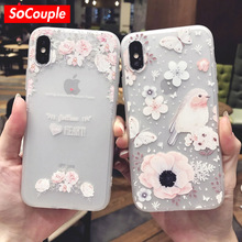 SoCouple Sweet TPU Phone case Ultra-thin Simple Scrub Silicone Lovely Bird Flower Animal Pattern Phone Cases For iphone X(China)