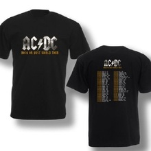 AC/DC Rock or Bust World Tour Black Men Tshirt Music Band Concert Men's 100% Cotton Tee Shirt Plus Size Front And Back Printing