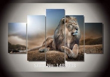 2017 New Framed Printed Animals Lion Group Painting Living Room Decoration Pictures Print Painting Picture Canvas Free Shipping
