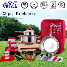 23pcs/set With bag Red Outdoor Camping Hiking Cookware Backpacking Cooking Picnic Bowl Pot Pan Set