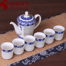 Buy Traditional Chinese Hive Blue White Porcelain Tea Set Green Puer Tea Cup Pot Ceramic Teapot Kongfu Teaset Teatime Drinkware for $5.99 in AliExpress store