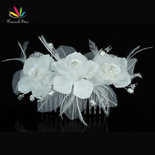 Bridesmaid Bridal Wedding Party Quality Fascinator Feather Ivory Fabric Flower Hair Comb CT1393