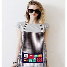Stripe Bib Apron Thick cotton with 2 Pockets Mother and Daughter Kitchen Baking Mats Women Painting Clothing