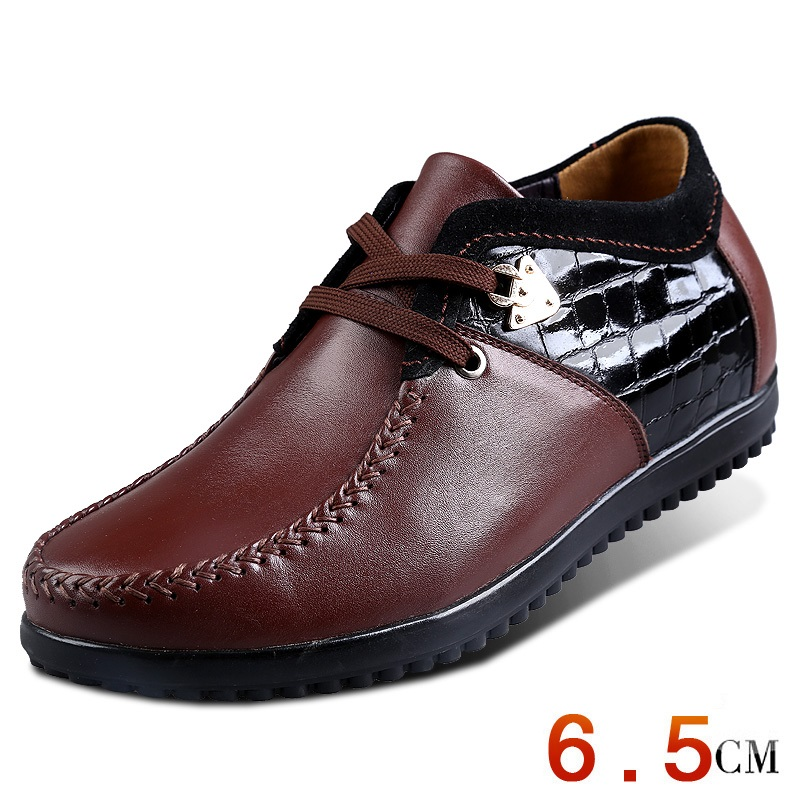 Men New Spring Elevator Shoes Business Shoes Formal Wedding Increase Height  Genuine Leather Oxfords Shoes Taller 2.56 Inches<br><br>Aliexpress