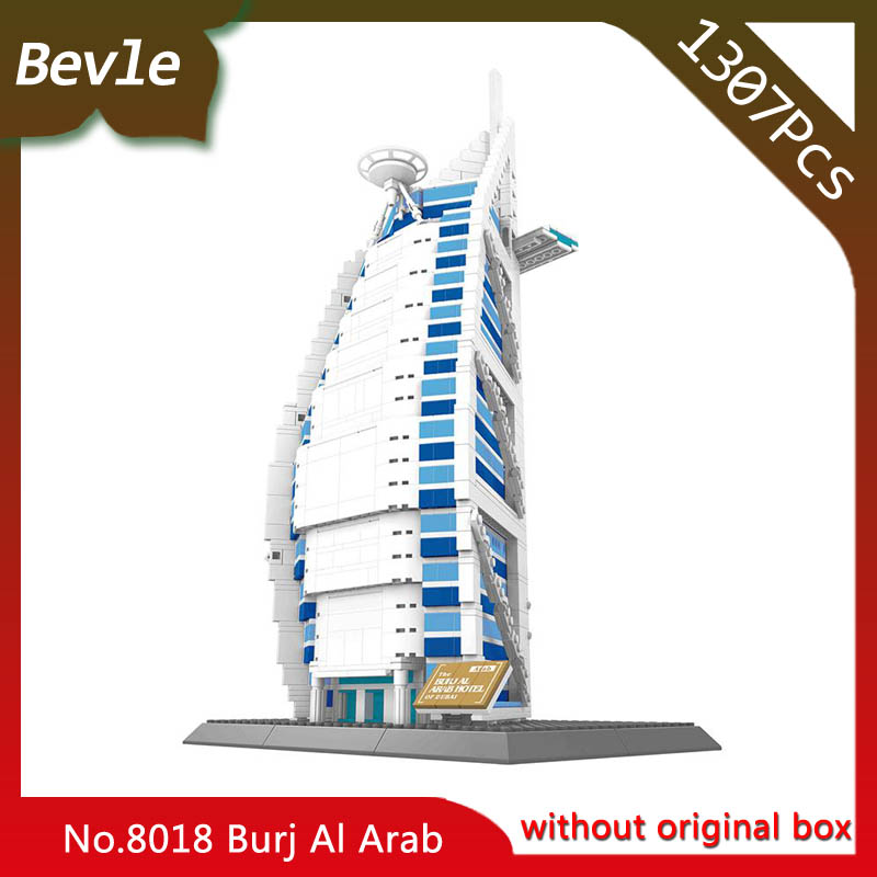 Bevle Store LEPIN 8018 1307Pcs Street View Series Dubai Sailing Tower Building Blocks set Bricks Children For Toys Wange Gift<br>
