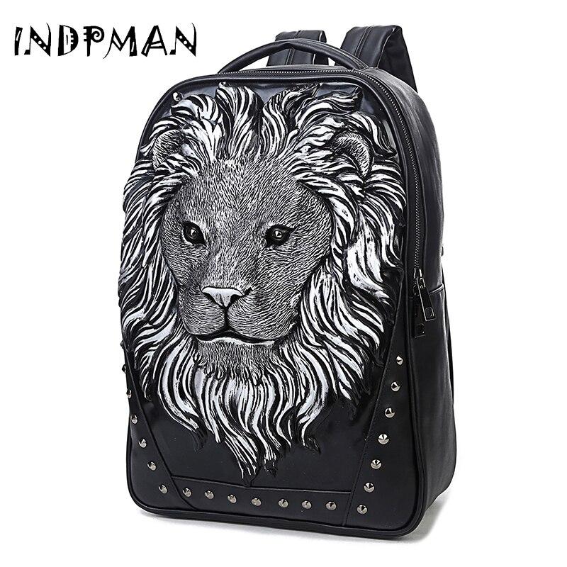 Lion Rivets packback design leather backpacks vintage Rock men bags 3D backpack rivet computer bags good quality Travel Bags<br>