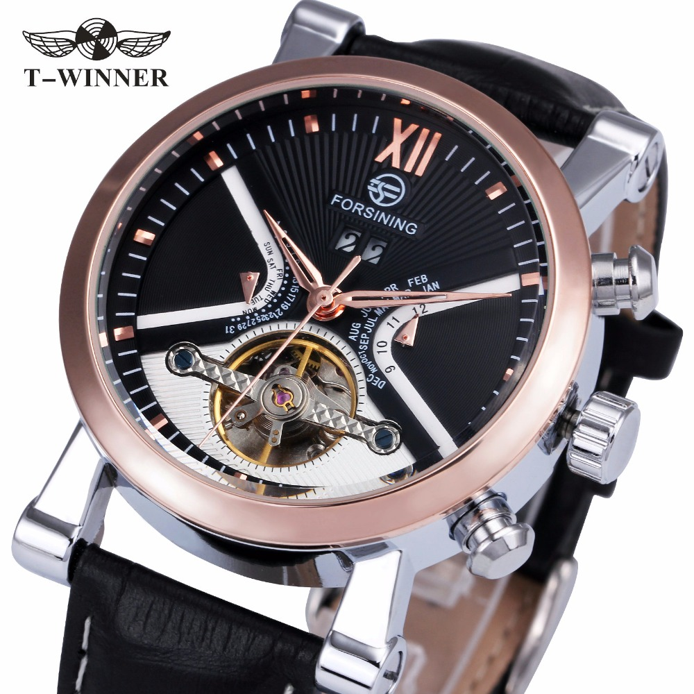 FORSINING Luxury Business Tourbillon Mechanical Watch Leather Strap Automatic Gold Skeleton Case Sub-dial reloj hombre + BOX<br>
